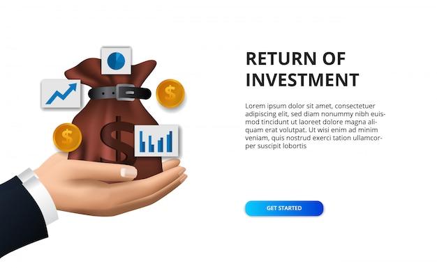 Concetto di finanza ritorno dell'investimento, borsa dei soldi dell'illustrazione, moneta dorata e icona del grafico