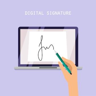 Concetto di firma digitale. contratto online sullo schermo. illustrazione.