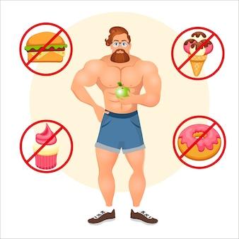 Concetto di fitness con bodybuilder sportivo barbuto hipster con occhiali e capelli rossi. modelli di fitness muscolare. cibo utile e dannoso. illustrazione vettoriale isolato