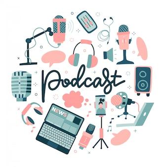 Concetto di forma rotonda podcast. dispositivo di registrazione del suono, attrezzatura multimediale. microfono, disegno a colori delle strutture di radiodiffusione isolato su fondo bianco. illustrazione disegnata a mano piatta con scritte