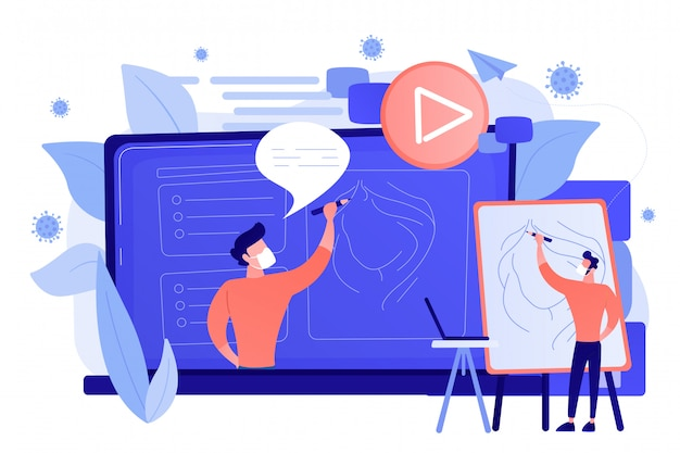 Concetto di formazione online di video dimostrativi.