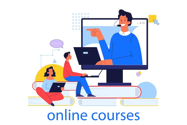 Concetto di formazione online. idea di studio a distanza utilizzando internet. idea di e-learning e conoscenza, corsi online. illustrazione