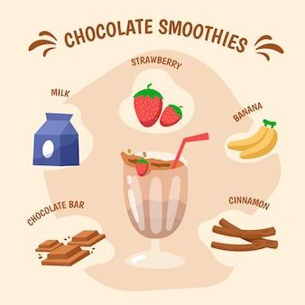 Concetto di frullati al cioccolato