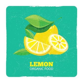 Concetto di frutta organica - carta fresca del grunge dei limoni