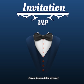 Concetto di fumo di cravatta a farfalla invito vip, stile realistico