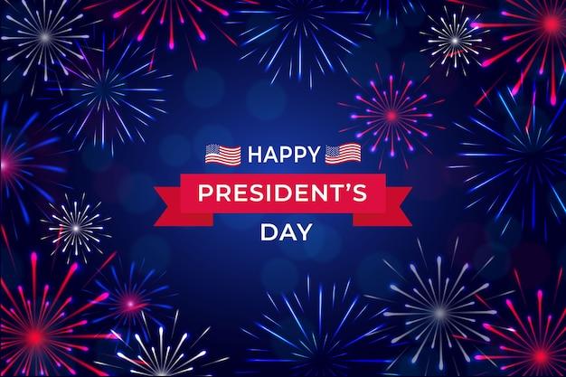 Concetto di fuochi d'artificio per la celebrazione del giorno del presidente