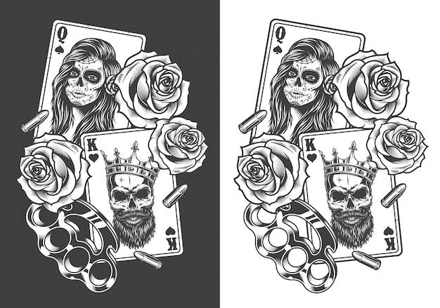 Concetto di gangsta con carta da gioco