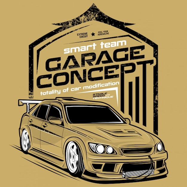 Concetto di garage, illustrazioni di auto super