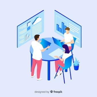 Concetto di gestione contemporanea squadra isometrica persone