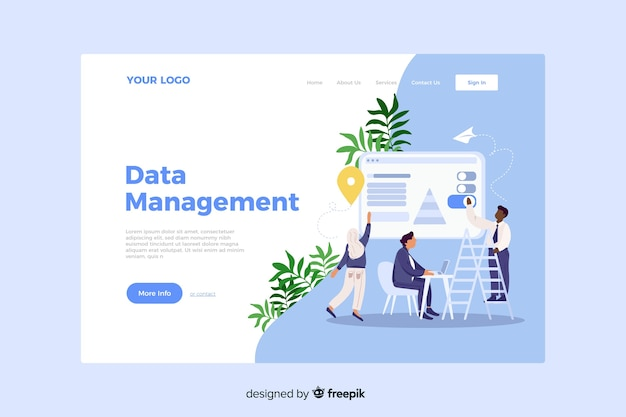 Concetto di gestione dei dati per landing page