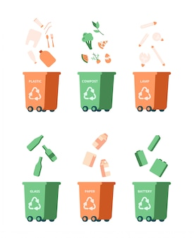 Concetto di gestione del riciclaggio dei rifiuti con diversi rifiuti. vettore