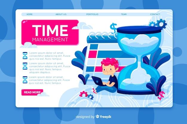 Concetto di gestione del tempo per la pagina di destinazione