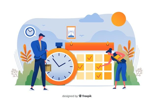 Concetto di gestione del tempo per landing page