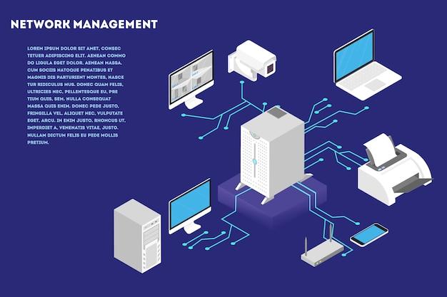 Concetto di gestione della rete. computer server e database cloud. comunicazione wirelees tra il dispositivo. illustrazione isometrica
