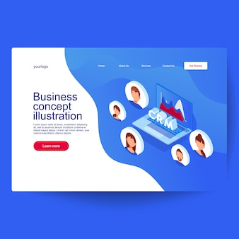 Concetto di gestione delle relazioni con i clienti. idea di business e tecnologia.