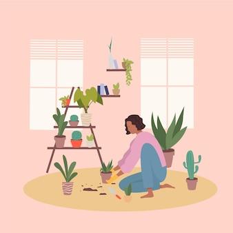 Concetto di giardinaggio di progettazione piana a casa con la donna
