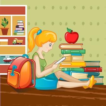 Concetto di giornata internazionale del libro, stile cartoon