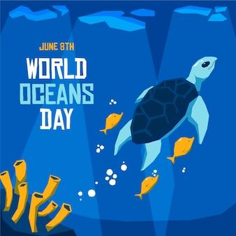 Concetto di giornata mondiale degli oceani design piatto