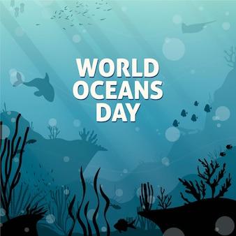 Concetto di giornata mondiale degli oceani disegnati a mano