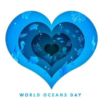 Concetto di giornata mondiale degli oceani in stile carta