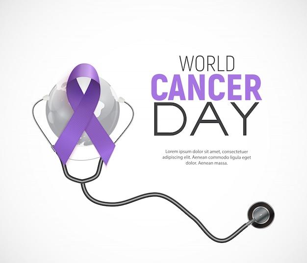 Concetto di giornata mondiale del cancro con nastro di lavanda ..