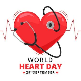 Concetto di giornata mondiale del cuore di design piatto