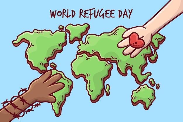 Concetto di giornata mondiale del rifugiato disegnato a mano