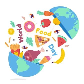 Concetto di giornata mondiale dell'alimentazione disegnata a mano