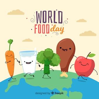 Concetto di giornata mondiale dell'alimento con sfondo design piatto