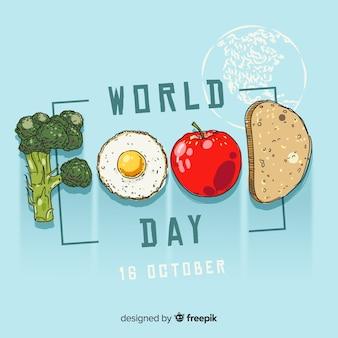 Concetto di giornata mondiale dell'alimento con sfondo disegnato a mano
