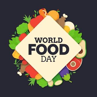 Concetto di giornata mondiale dell'alimento piatto