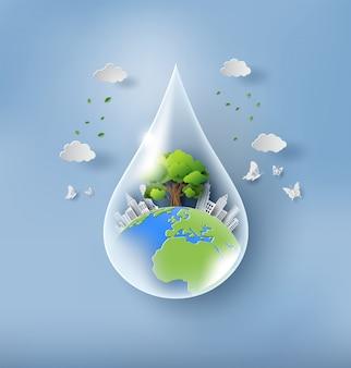 Concetto di giornata mondiale dell'ambiente, goccia d'acqua con la terra.