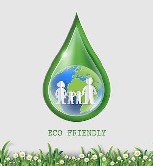 Concetto di giornata mondiale dell'ambiente, goccia d'acqua con terra e famiglia.
