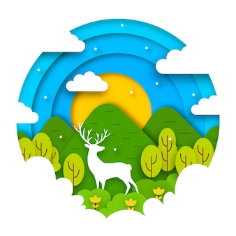 Concetto di giornata mondiale dell'ambiente in stile carta