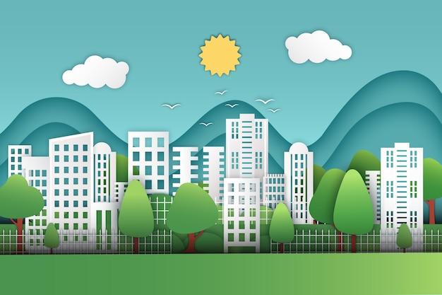 Concetto di giornata mondiale dell'habitat in stile carta