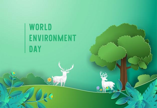 Concetto di giornata mondiale della fauna selvatica con cervi nella foresta.