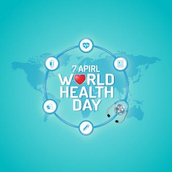 Concetto di giornata mondiale della salute per l'assistenza sanitaria e medica