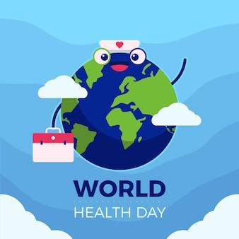 Concetto di giornata mondiale della salute piatto