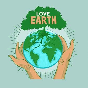 Concetto di giornata per la terra love earth. mani umane che tengono l'illustrazione del globo della natura