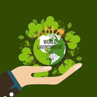 Concetto di giorno ambientale mondiale. verde eco terra. illustrazione vettoriale.