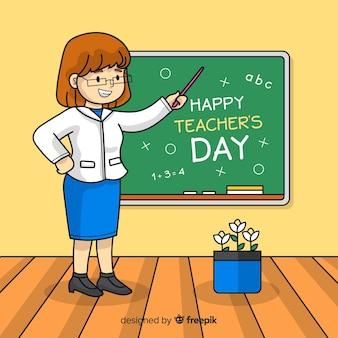 Concetto di giorno degli insegnanti con fondo disegnato a mano