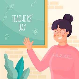 Concetto di giorno degli insegnanti di design piatto