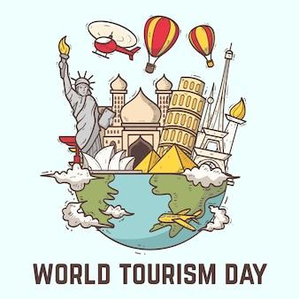 Concetto di giorno del turismo disegnato a mano
