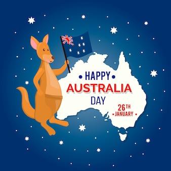 Concetto di giorno dell'australia con canguro