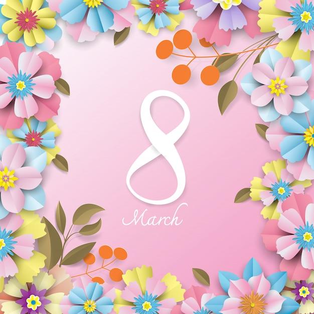 Concetto di giorno della donna fiori colorati e numero bianco sul rosa