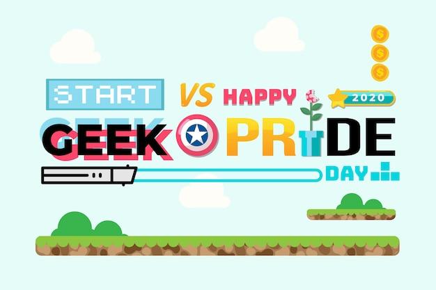 Concetto di giorno di orgoglio geek con font di giochi