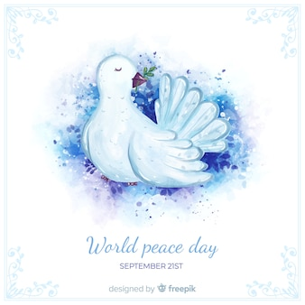 Concetto di giorno di pace con colomba dell'acquerello