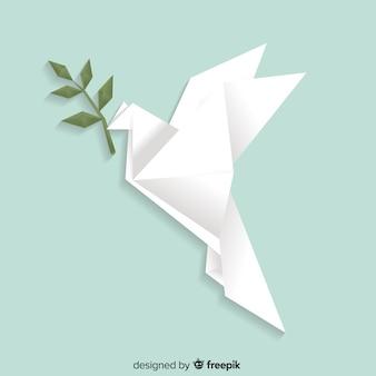 Concetto di giorno di pace con origami colomba