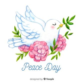 Concetto di giorno di pace internazionale disegnato a mano con colomba bianca
