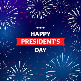 Concetto di giorno di presidenti con fuochi d'artificio